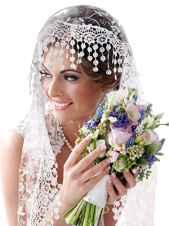 Boao 2 Pezzi Veli di Pizzo Velo da Sposa Floreale Copricapo Latino Mantilla Veli Latini Sciarpa Corta per Donne da Sposa Colore Set 1