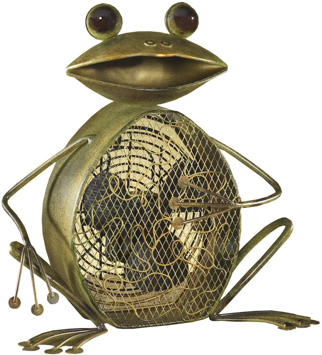 DecoBREEZE Decorative Table Fan, Desk Fan, Two Speed Electric Tabletop Fan, Figurine Fan, 7 inch, Frog
