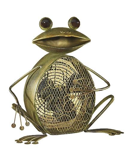 DecoBREEZE Table Fan Two Speed Electric Circulating Figurine Fan, 7 In, Frog