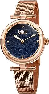 ساعة يد بورغي للنساء كوارتز، عرض انالوج وسوار ستانلس ستيل BUR231RGBU