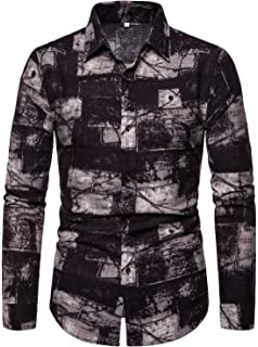 DDLmax Mens Casual Turn-Down Collar Dress Shirt Button Down Shirts Long-Sleeve Top Shirt Blouse