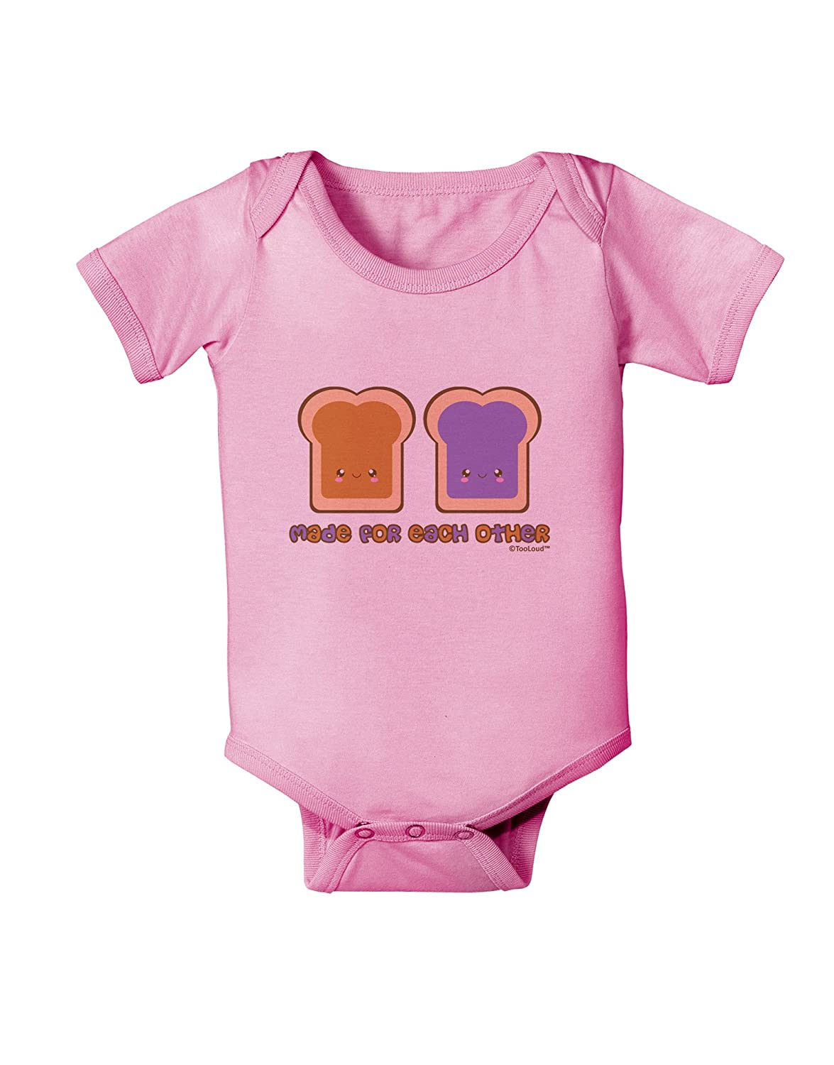TooLoud Cute PB and J Design Made for Each Other Baby Romper Bodysuit