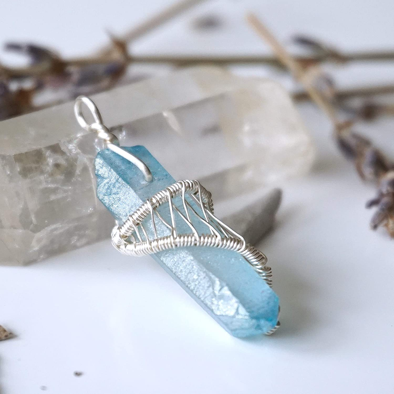 for her anti stress gemstone for him success stone blue amulet necklace Aqua Aura Quartz point pendant yoga reiki gift unisex jewelry