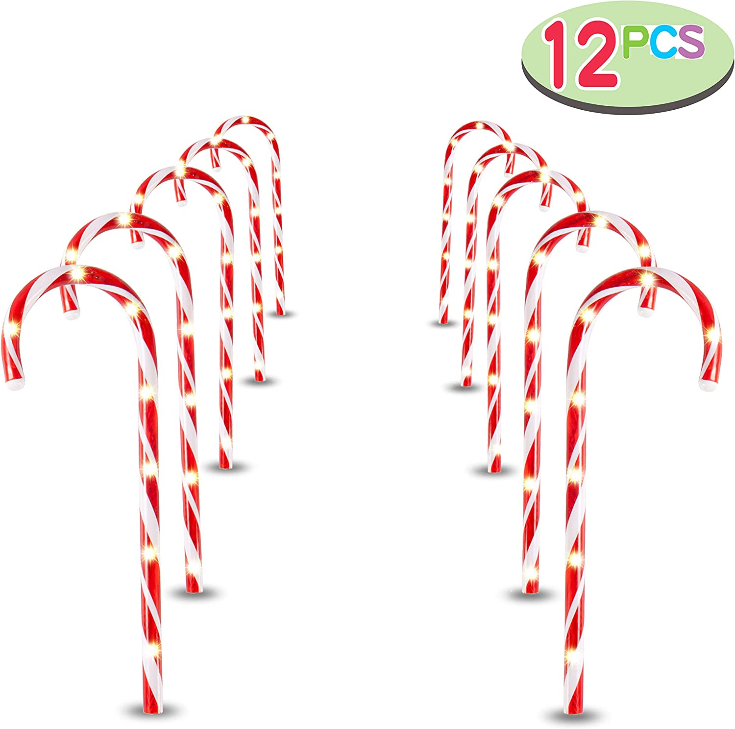 "Joiedomi 17"" Christmas Candy Cane Pathway Markers, Set of 12 Christmas Pathway Lights with 72 Warm White Lights for Indoor and Outdoor Christmas Decorations"