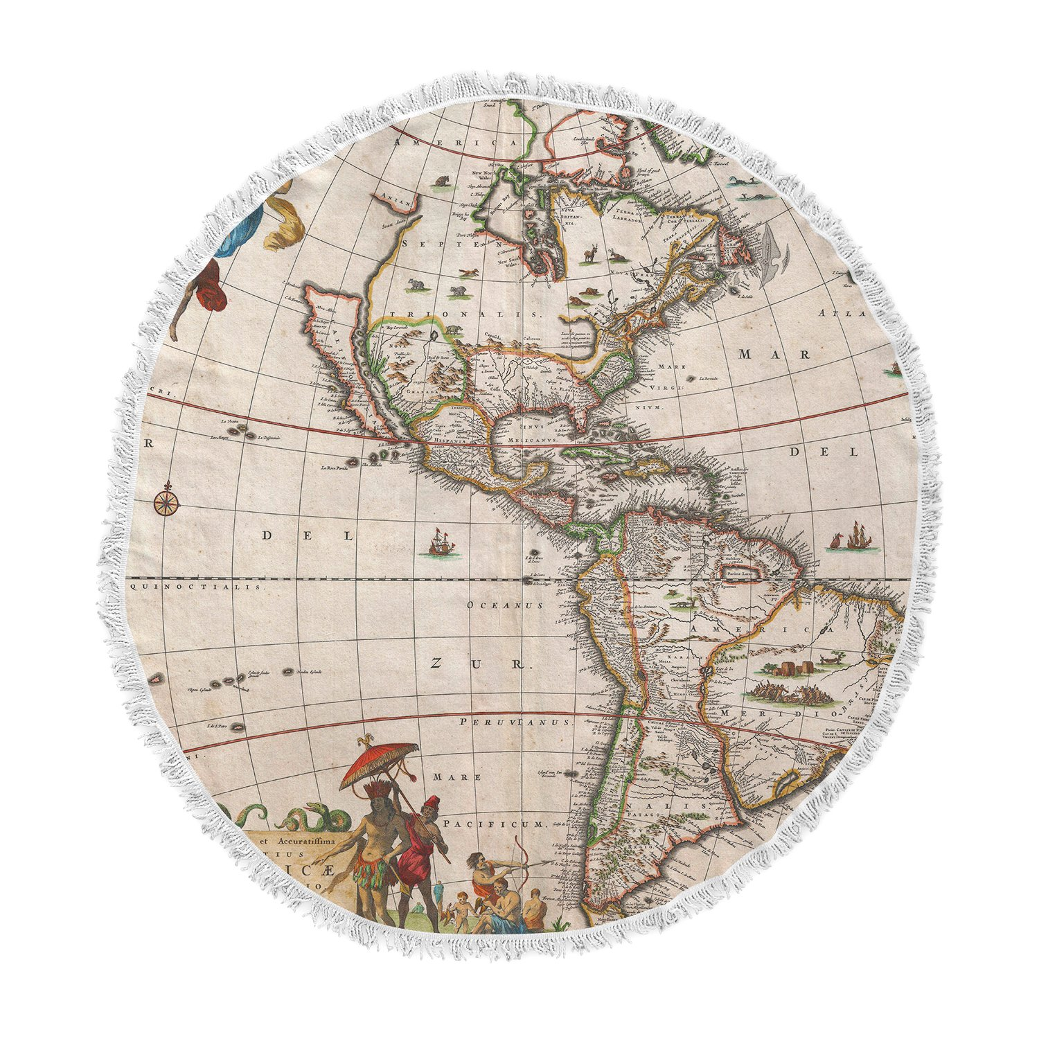KESS InHouse Bruce Stanfield Vintage Map of the America's Brown Green Round Beach Towel Blanket