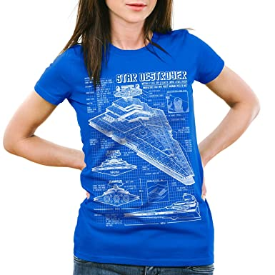 A.N.T. Sternenzerstörer Damen T-Shirt blaupause raumschiff,  Farbe:Blau;Größe:XS