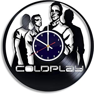 BuhnemoShop Coldplay Rock Band Handmade Vinyl Record Wall Clock, Coldplay Wall Poster Unique Kitchen Decor Ideas, Coldplay Gift for him and her