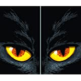 "WOWindow Posters Yellow Eyed Cat Halloween Window Decoration Includes Two 34.5""x60"" Backlit Plastic Poster"