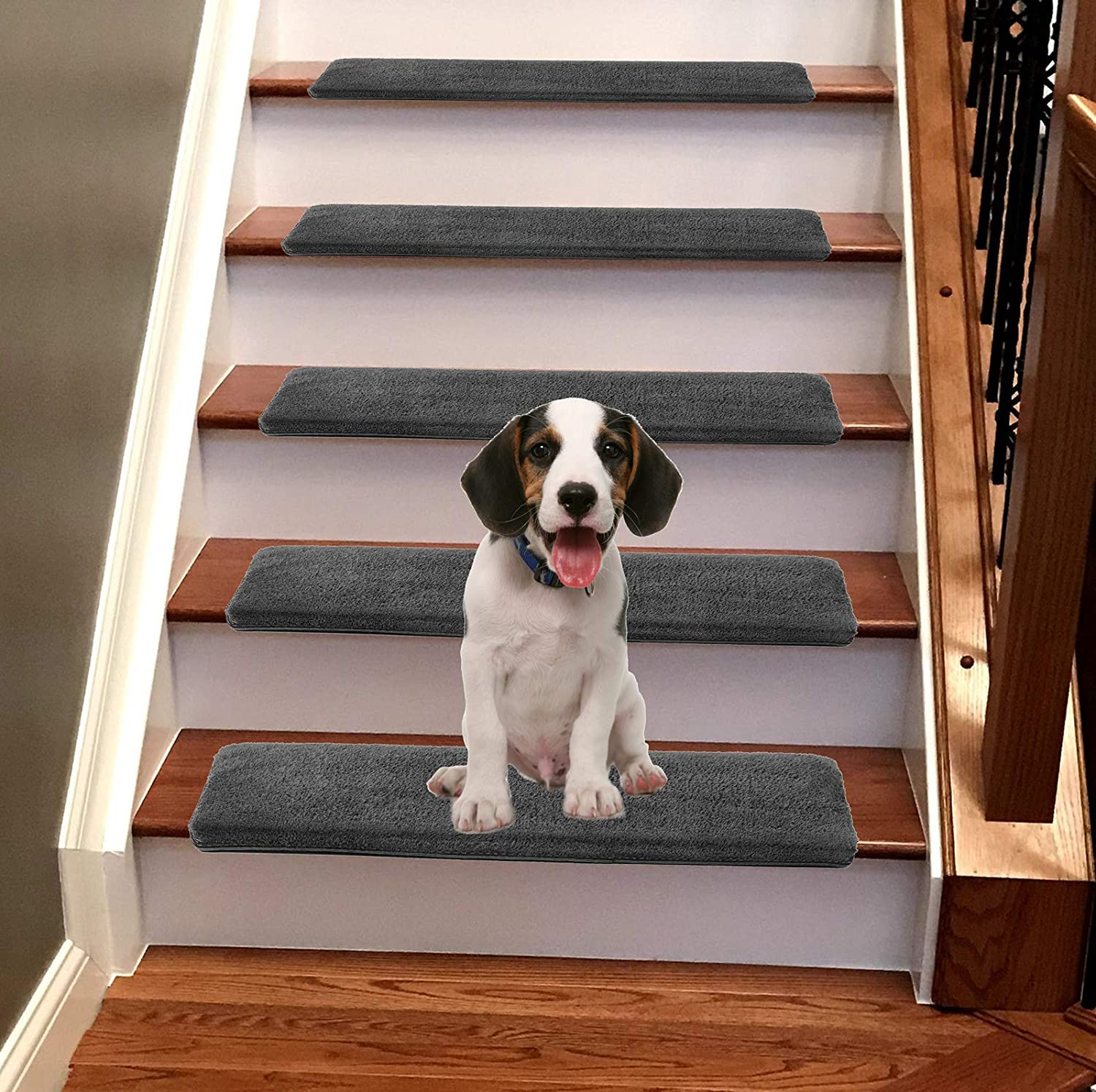 Jorviz Bullnose Carpet Stair Treads Set of 14 Soft Non Slip Self Adhesive Indoor Stair Protectors Pet Friendly Rugs Covers Mats Skid Resistant Washable Rubber Backing Dark Grey (9.5
