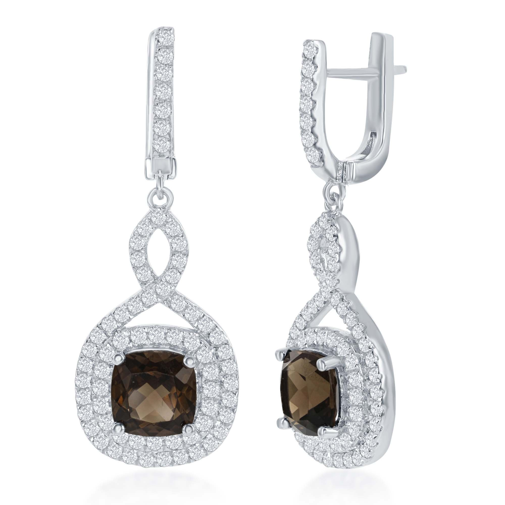 Sterling Silver High Polish Smoky Square Quartz Center with White Topaz Swirl & Border Earrings