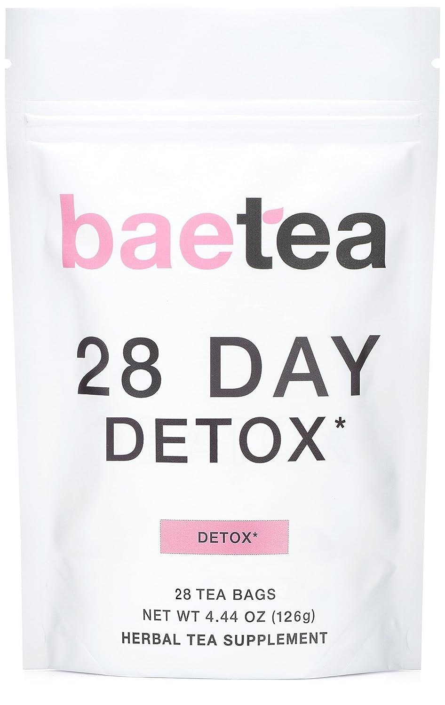 Baetea 28-Day Teatox Gentle Herbal Detox Tea with Green Tea Ginger Root, 28 Tea Bags