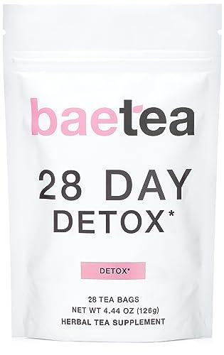 Baetea 28-Day Teatox Gentle Herbal Detox Tea with Green Tea & Ginger Root
