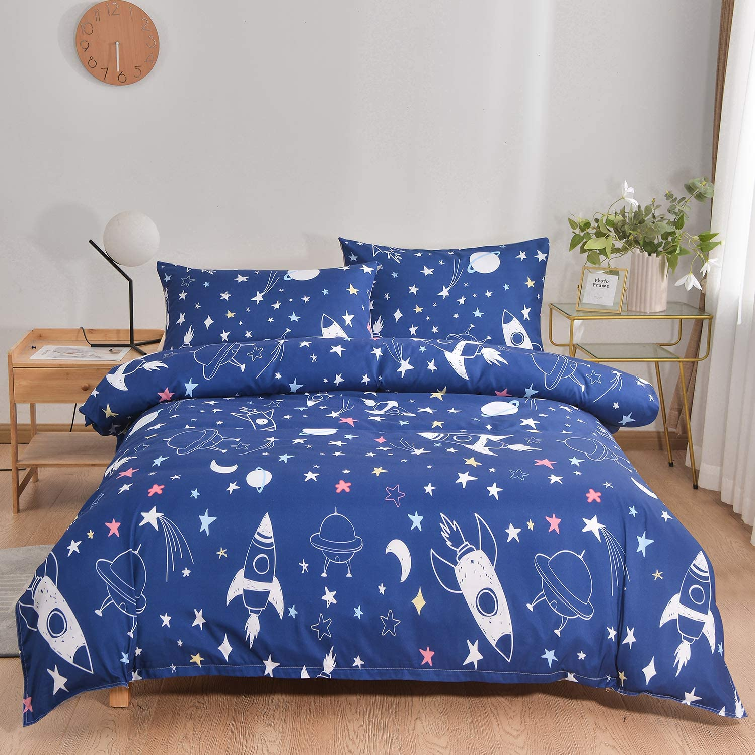 YOOCOOL Cute Bedding Set 3 Pieces Duvet Cover Set with 3D Printings 1 Duvet Cover 2 Pillowcases for Kids and Teens Colorful, Twin