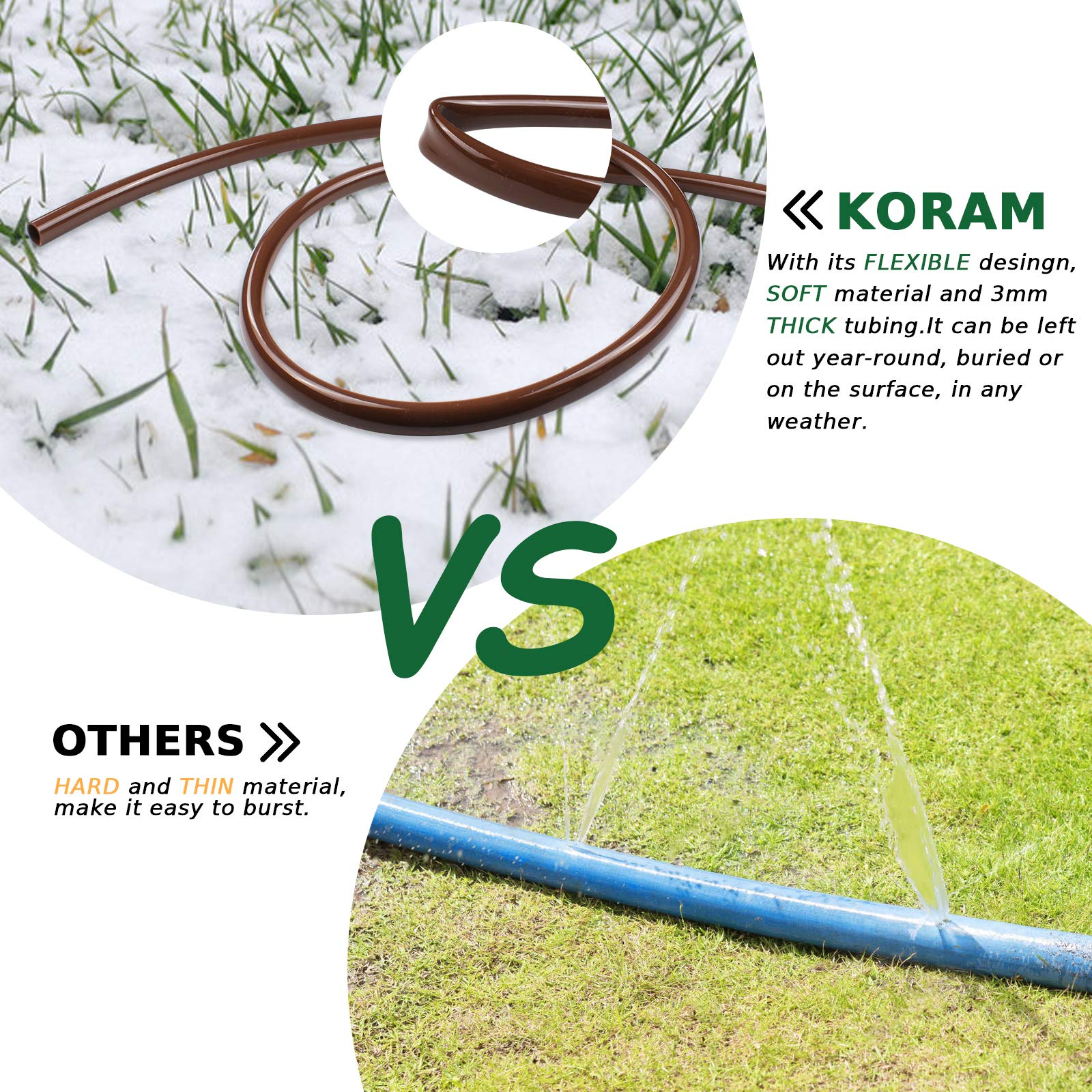 """KORAM OT-E 50 Feet Blank Distribution Tubing Hose Plant Watering Irrigation Drip Kit Accessories Include Nozzle Mister Irrigation Stake, 1/2"""" 1/4"""" Tubing and Fittings"""