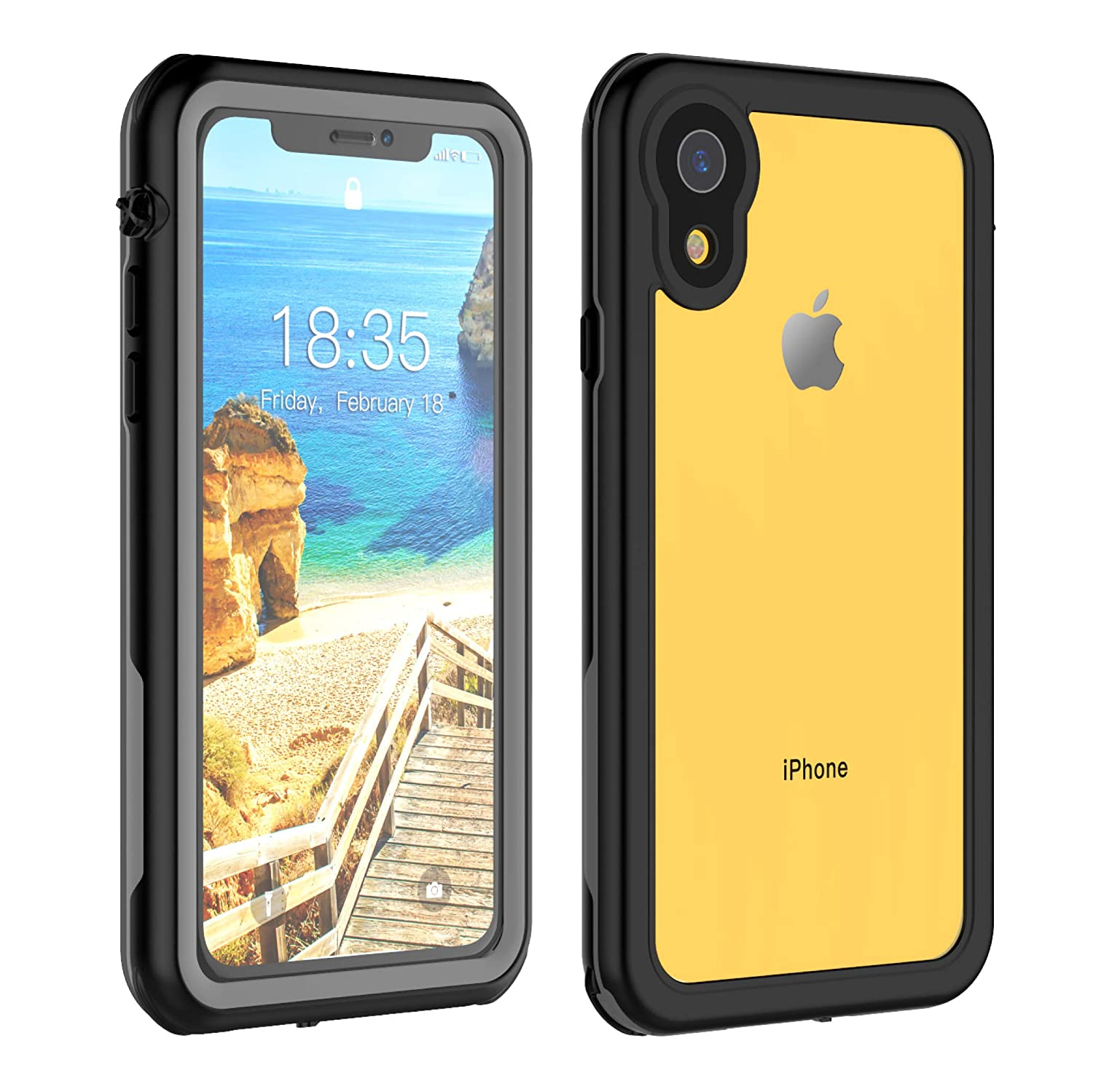 huge selection of 68a42 a48df iPhone XR Waterproof Case 6.1 inch, Full Body Protective with Built-in  Screen Protector Clear Waterproof Case for iPhone Xr Case 6.1 Inch 2018.