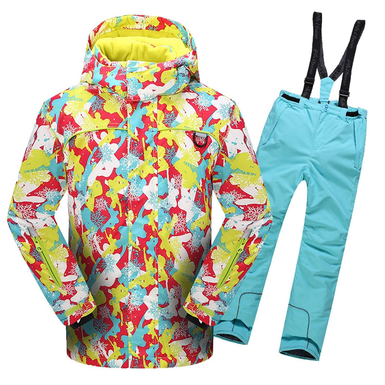 スノーボードウェア スキーウェア 上下セット キッズ 子ども レディース 女の子 男の子 セットアップ ジャケット サロペットパンツ 保温 耐水圧 撥水加工 81623+シアン 160(身長155cm-165cm)