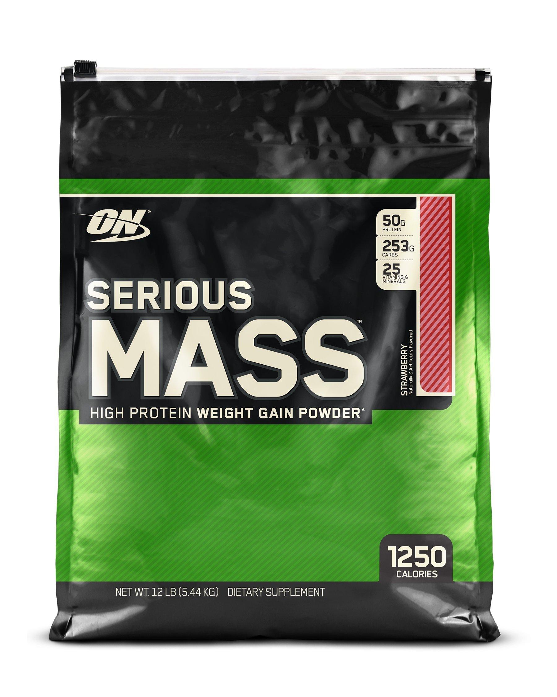 Optimum Nutrition Serious Mass Weight Gainer Protein Powder, Strawberry, 12 Pound