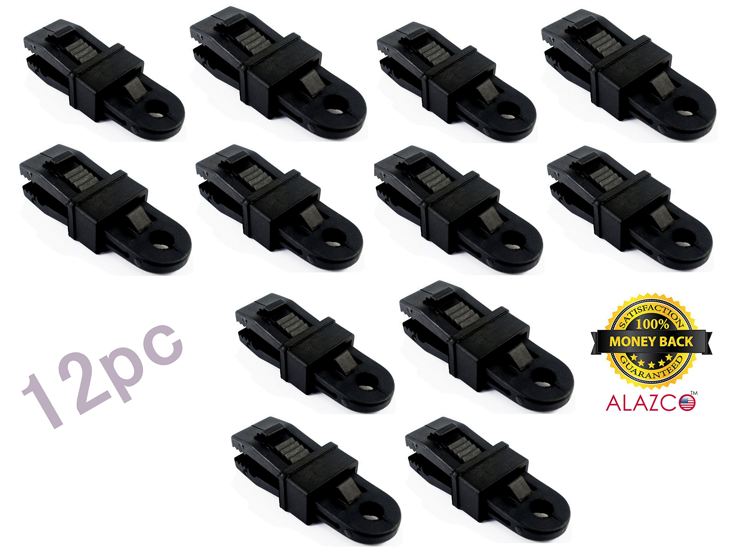 12pc Heavy Duty Clamp Set - 3¼'' Outdoor Camping Tarp Clip - Sliding Secure Lock Grip Awning Clamps