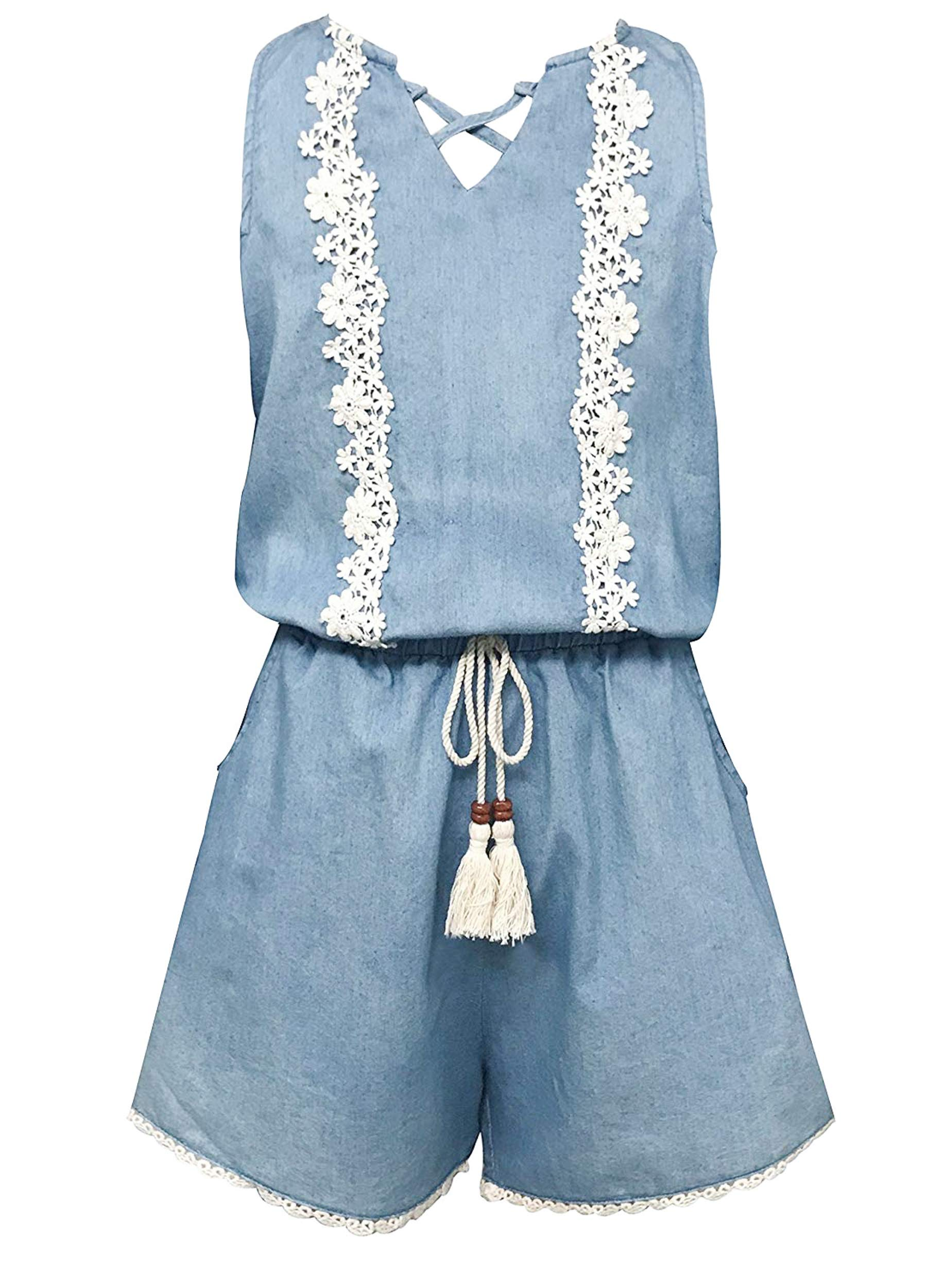 Smukke, Big Girls Vintage Lace Trimmed Denim Sleeveless Romper with Pockets, 7-16 (Denim, 16)