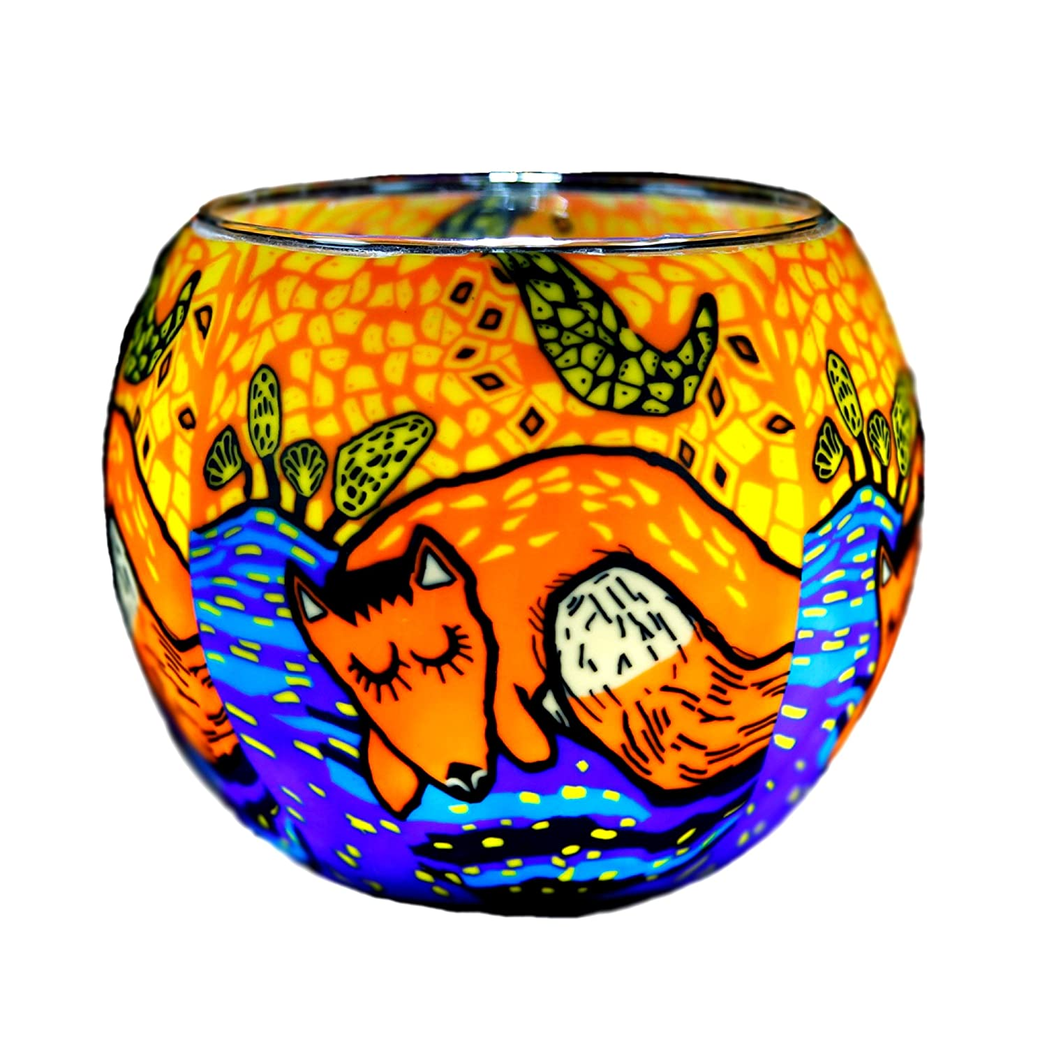 Kerzenfarm Plaristo Glowing Glass Fox Tealight Holder, Multi-Colour, 11 cm Diameter 21122