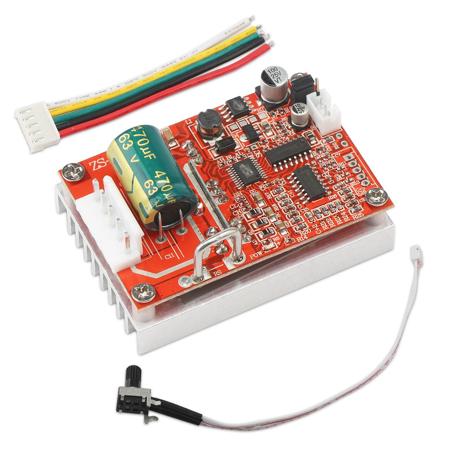 Brushless DC Motor Speed Controller, DROK DC 6-50V Three-phrase Brushless Sensorless Motor Control Board 12v 24v BLDC Motor Driver Regulator Monitor 380W PWM Speed Controller Module with Heat Sink by DROK