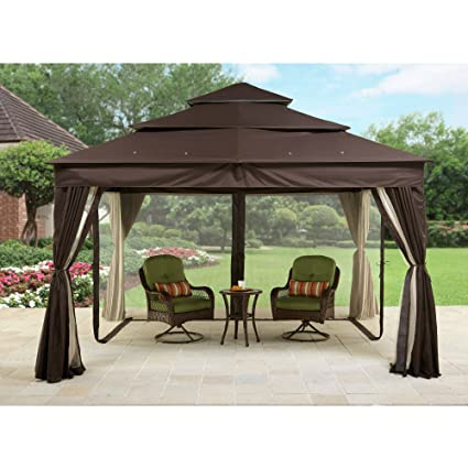 Metal Gazebo With Netting Tent Privacy Curtains Steel Frames Cover Fabric  Roof Sun UV Protected