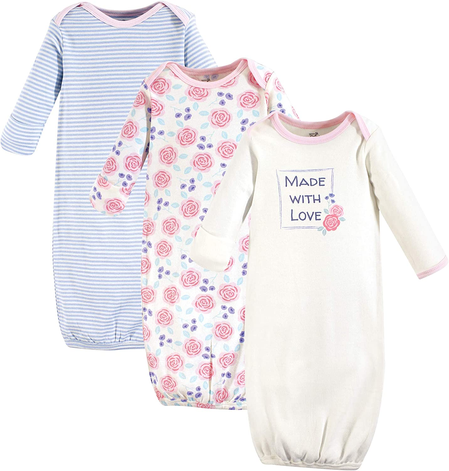 Pink Rose Touched by Nature Unisex Baby Organic Cotton Gowns 0-6 Months