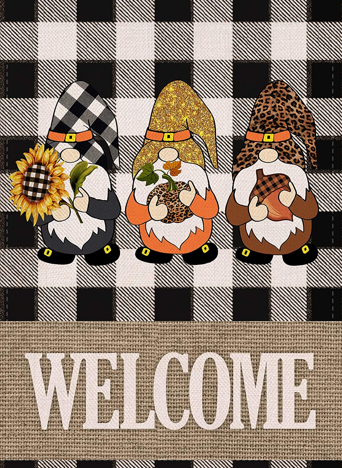 Covido Welcome Fall Gnomes Home Decorative Garden Flag, Buffalo Plaid Check Leopard House Yard Tomte Decor Autumn Outdoor Small Flag Sunflower Pumpkin Acorn Sign Thanksgiving Outside Decorations 12x18