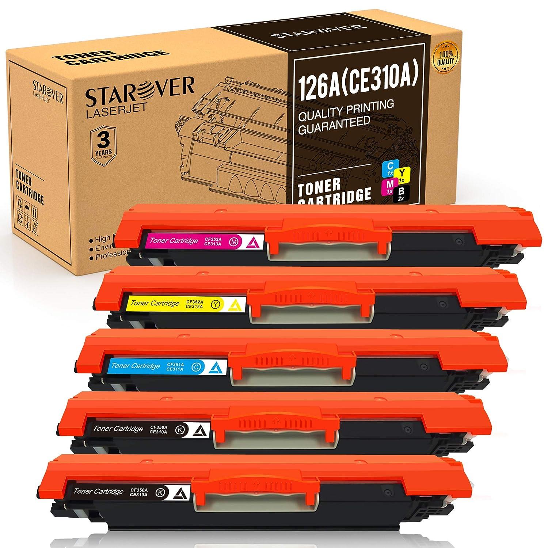 STAROVER 5x 126A (CE310A CE311A CE312A CE313A) Compatibile Colori Toner Sostituzione Per HP LaserJet Pro 100 color MFP M175 M175A M175nw / HP TopShot LaserJet Pro M275 M275NW MFP / HP LaserJet Pro CP1020 CP1025 CP1025nw / HP color LaserJet Pro MFP M176 M17
