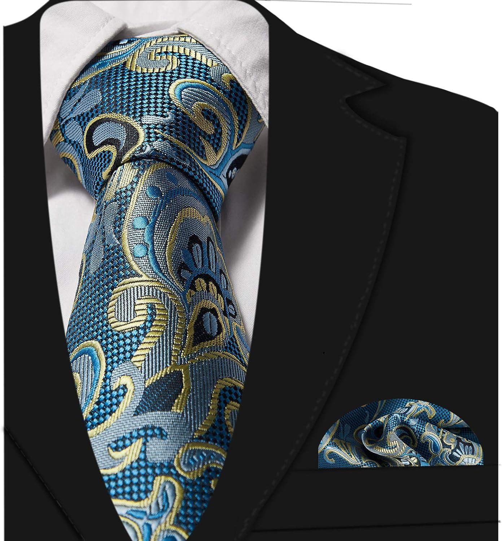 ONETIE Krawatte Mit Einstecktuch Set Krawatte Schwarz Herren Handgen/äHte Hochzeit Blau Kravatten Aus 100/% Seide F/üR Herren F/üR B/üRo Oder Festliche Veranstaltungen