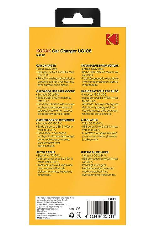 Amazon.com: KODAK UC108 KODUC108, Doble USB: Automotive