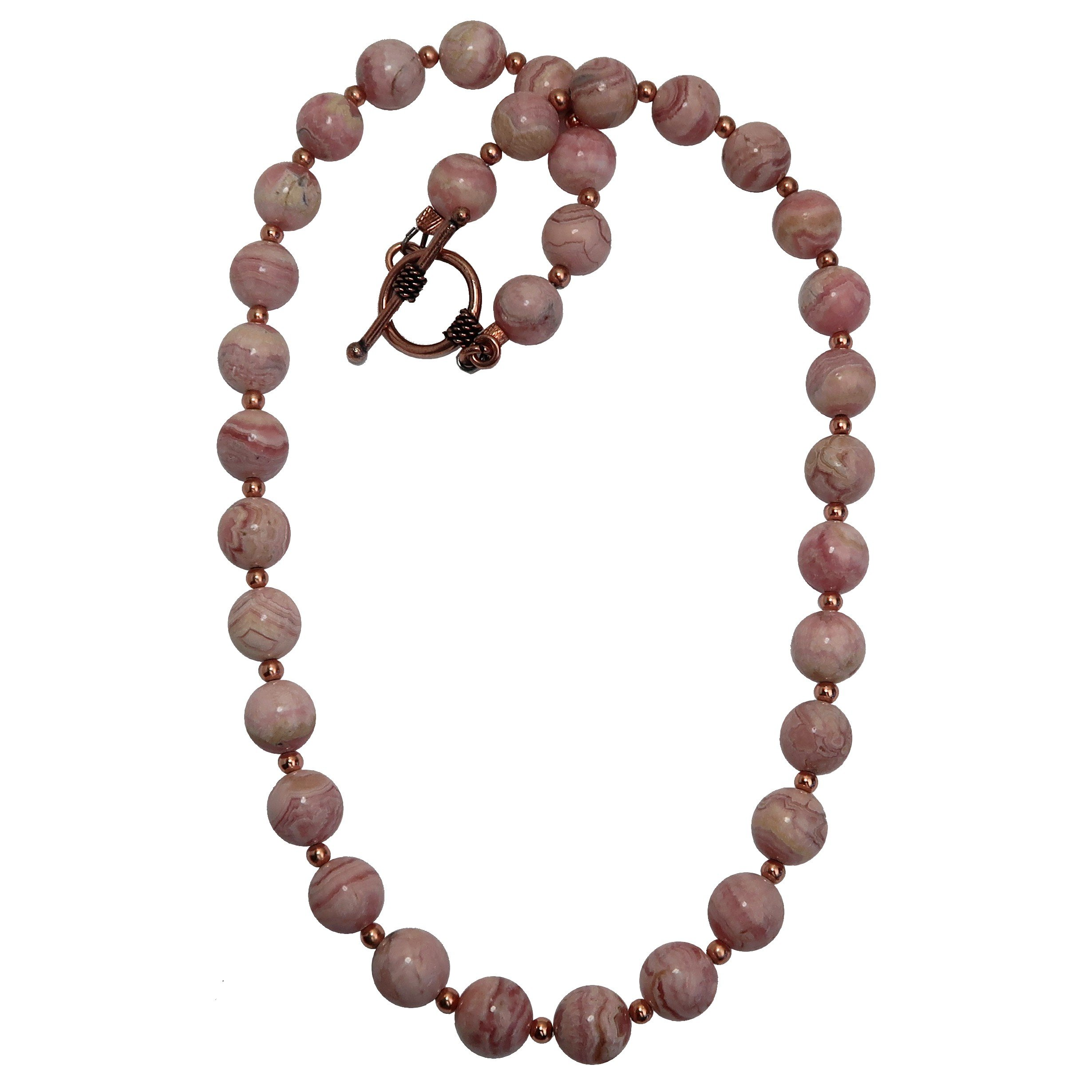Satin Crystals Rhodochrosite Necklace Boutique Deluxe Pink Genuine Gemstone Round Beaded Copper B01 (17)