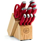 Guy Fieri 12-Piece Stainless Steel Knife Block Set, Red