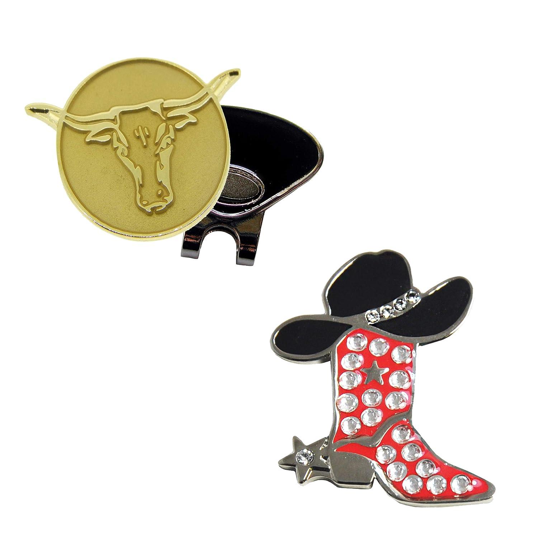 NavikaレッドCowgirl BootスワロフスキークリスタルボールマーカーandゴールドLonghornボールマーカーwith One磁気帽子クリップ   B01MTA45ES