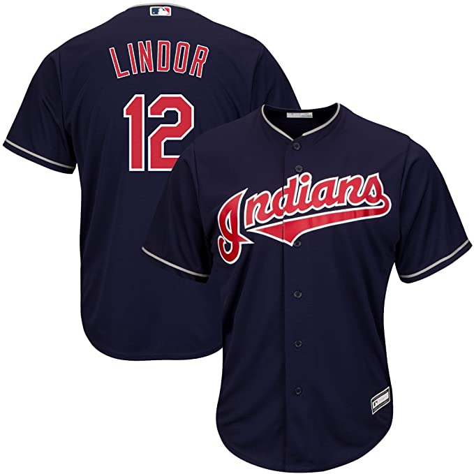 new products 24f10 a436d Majestic Francisco Lindor Cleveland Indians MLB Youth Navy Blue Alternate  Cool Base Replica Jersey