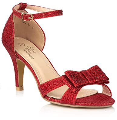 c9f77a75230c7 Shoe Box Boutique 0122 New Ladies Party Prom Mid Heel Glitter ...