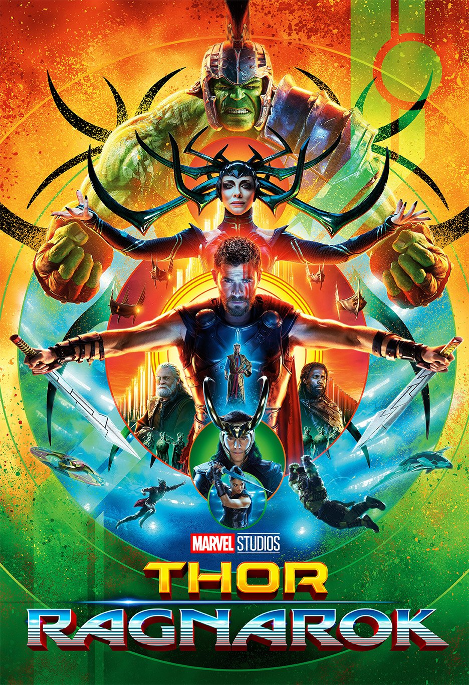 Thor 3 : Ragnarok (2017) - Circle - 13 in x 19 in Movie Poster Flyer BORDERLESS + Free 1 Tile Magnet