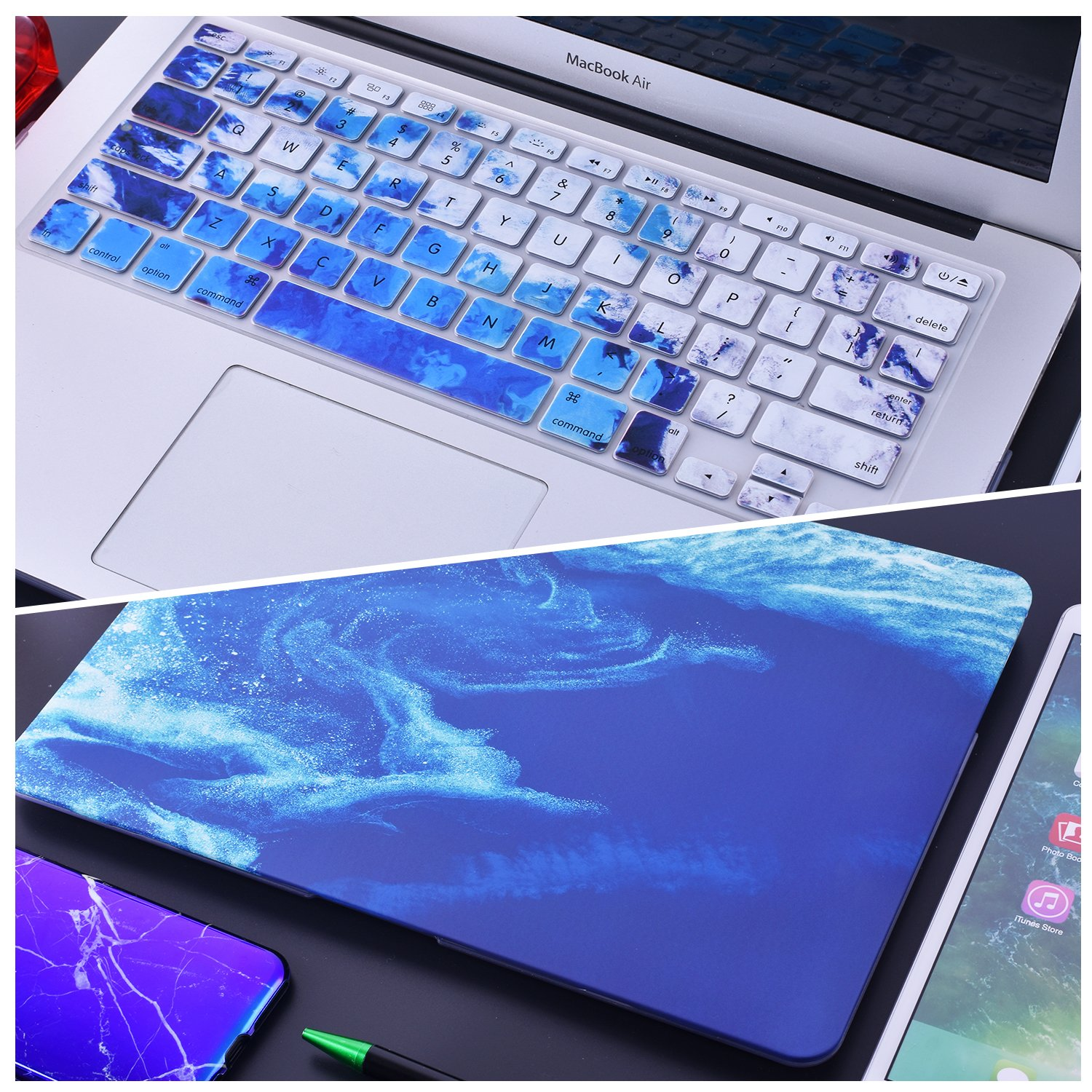 Macbook Air 13 Inch Case, EGONE Plastic Hard Protective Smooth Macbook Shell Case with Keyboard Cover for Macbook Air 13\