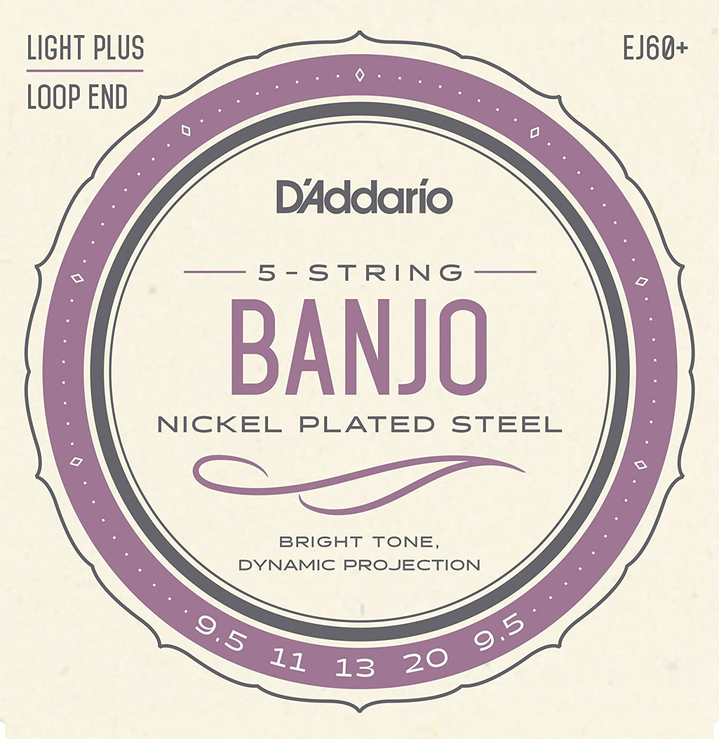 D'Addario EJ60+ Nickel 5-String Banjo Strings, Light Plus, 9.5-20 D' Addario &Co. Inc