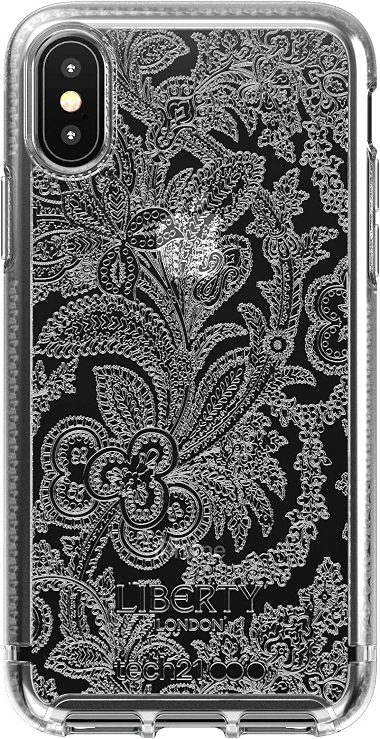 tech21 Pure Design for Apple iPhone X and XS Liberty Londo Phone Case with 10 ft. Drop Protection, Grosvenor Clear
