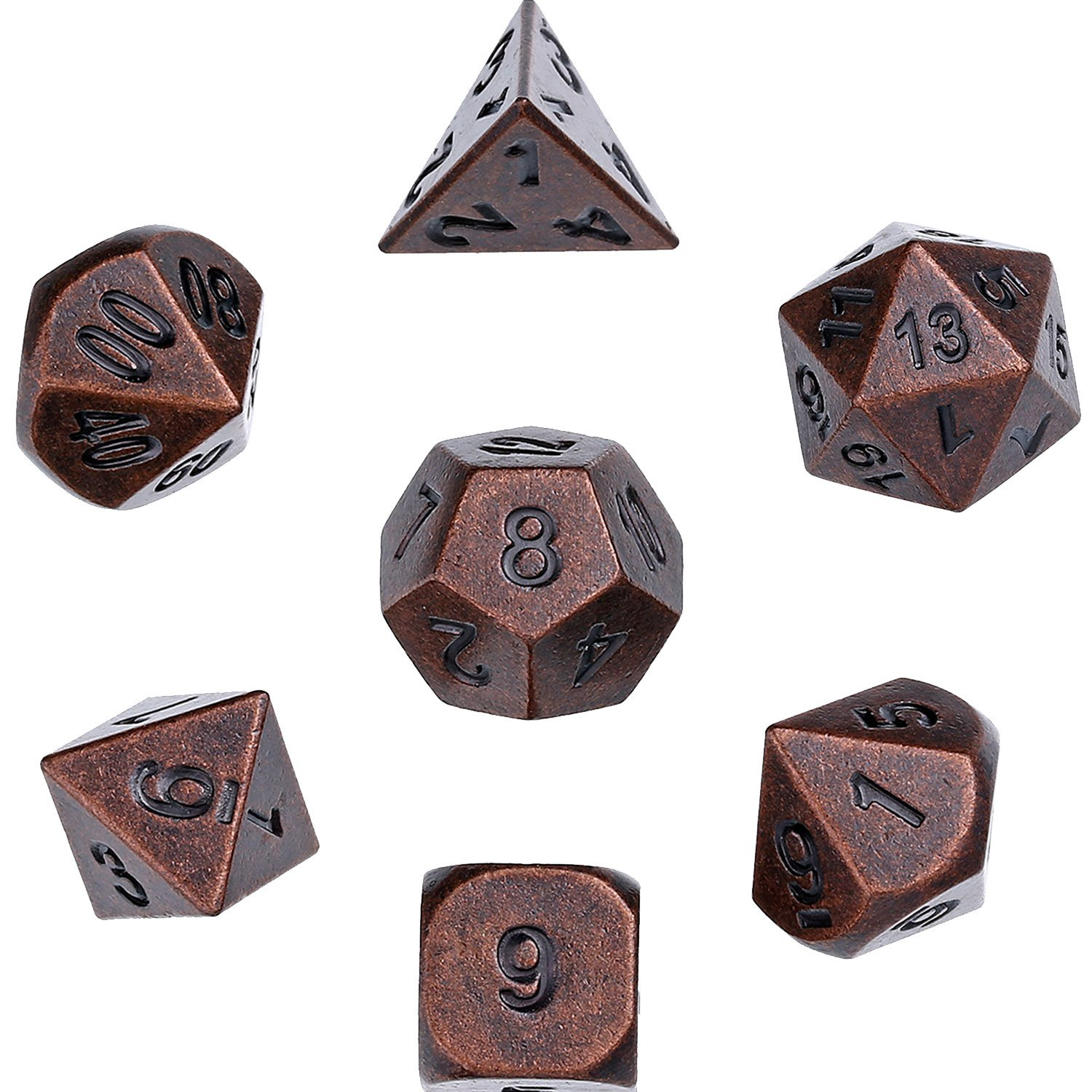Hestya 7 Pieces Multi-sided Dice Set Metal Polyhedral Dices Game Dice with Random Numbers and Velvet Storage Bags (Red Copper)