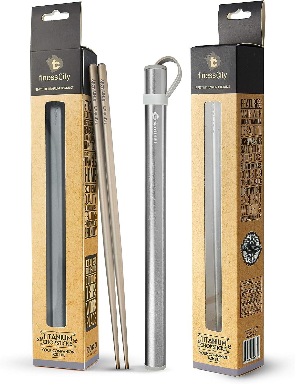 Palillos de titanio extra fuertes Ultra ligero profesional (Ti), palillos viene con caja de aluminio libre de calidad exclusiva (Gris)