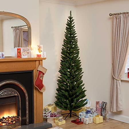 7ft Green Pine Pencil Slim Artificial Christmas Tree with 650 Branch Tips &  Metal Stand