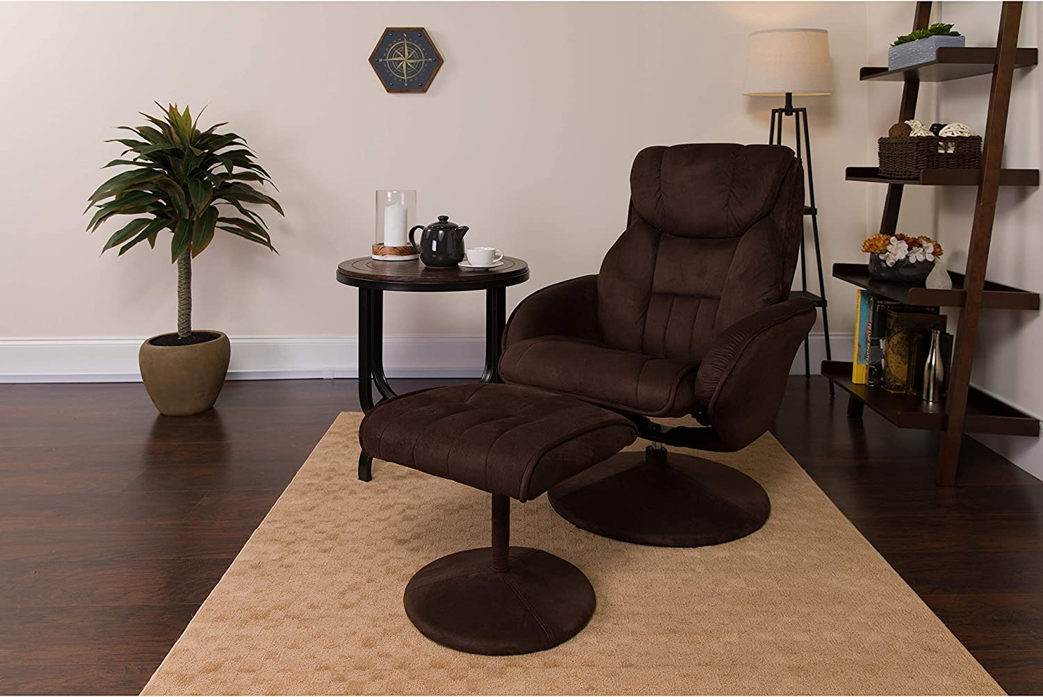 Flash Furniture Contemporary Multi-Position Recliner and Ottoman with Circular Wrapped Base in Brown Microfiber