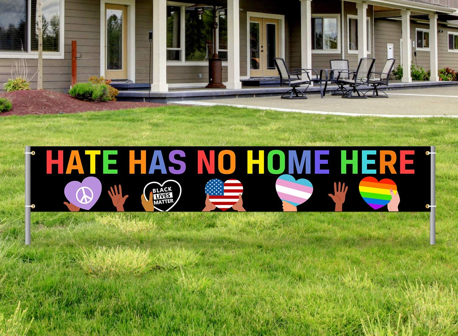 Hate Has No Home Here Yard Sign Banner,Black Lives Matter Outdoor Banner Decor