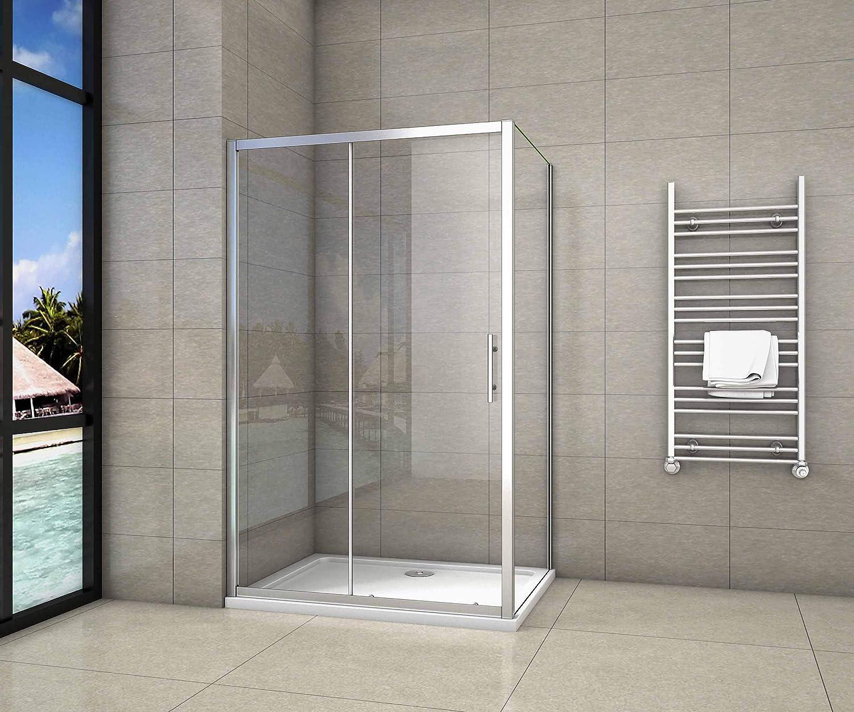 Cabina de Ducha Rectangular Puerta Corredera Cristal Templado 5 MM 100x80x190cm: Amazon.es: Bricolaje y herramientas