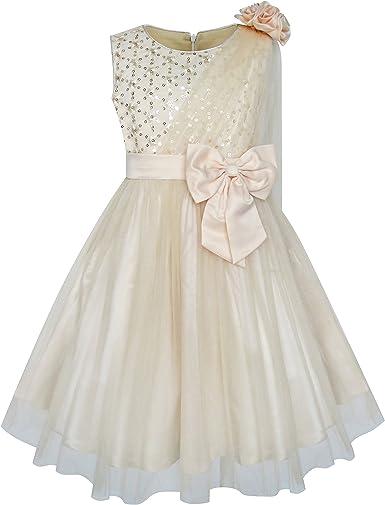 Sunny Fashion Robe Fille Fleur Beige Pétillant