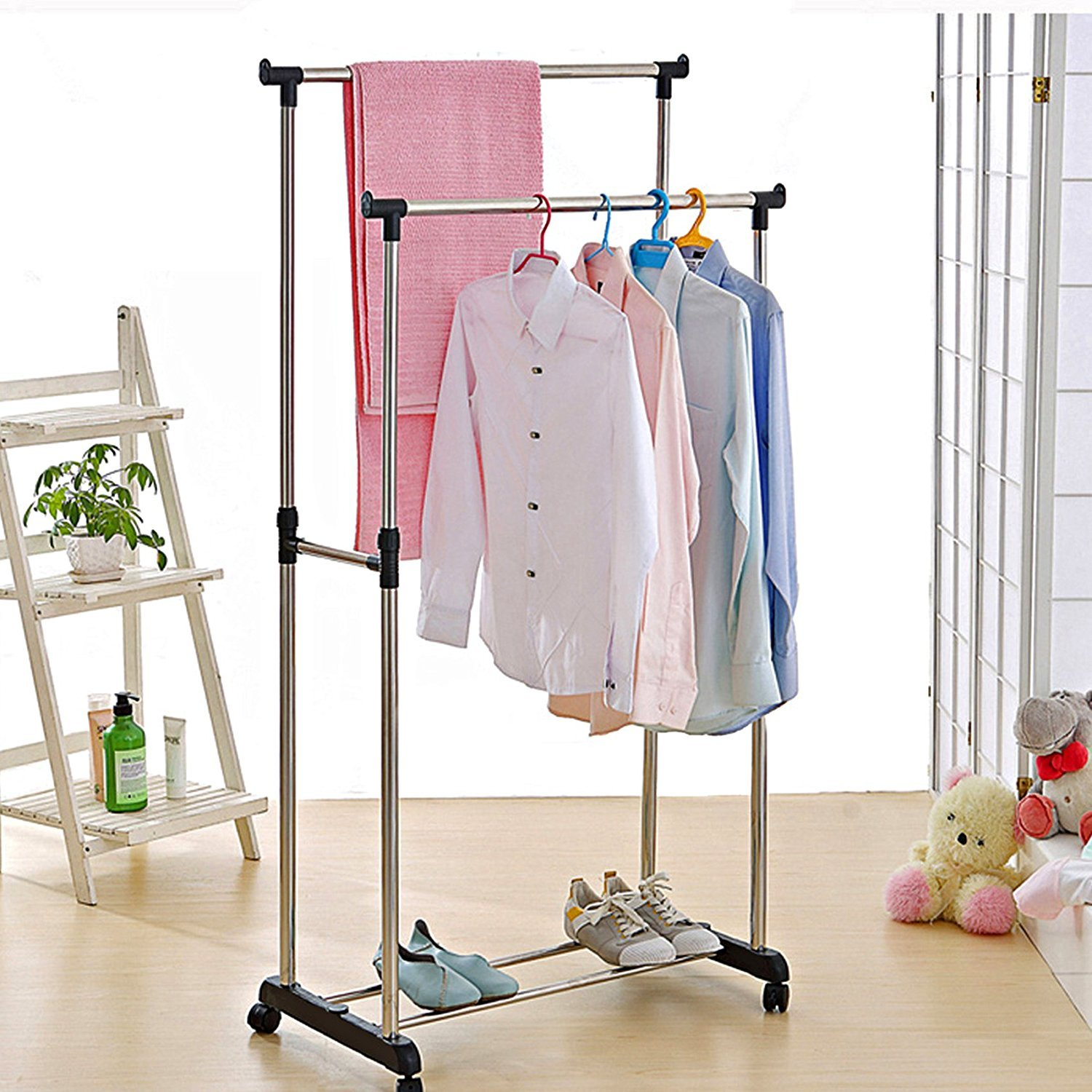 Styleys Stainless Steel Premium Double Pole Clothes Hangerrack, Rolling Bar Rail
