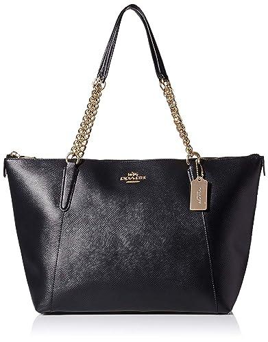 1b3b947bfc3 Coach Pebble Leather AVA Chain Top Zipper Handbag Shoulder Tote (Black)