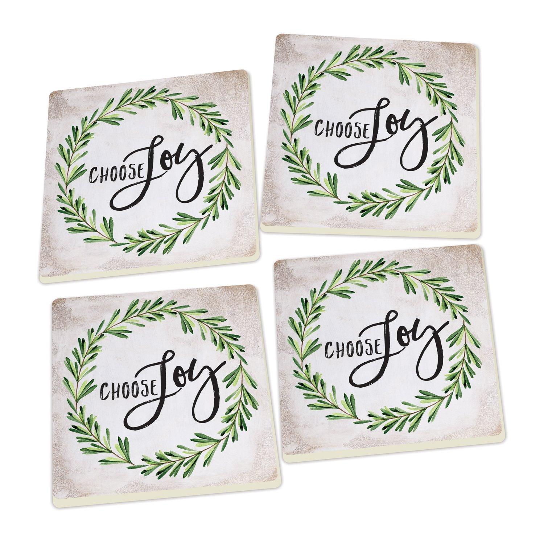Choose Joy Laurel Wreath Script Design Set of 4 Ceramic Coaster Pack